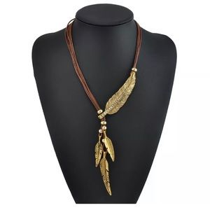 Boho Native Feather Leather Statement Necklace 🔥